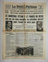 N645 La Une Du Journal Le petit Parisien 26 octobre 1940 maréchal Pétain, führer