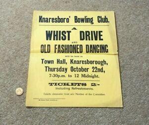 1930's Whist Drive & Dancing Bowling Club Knaresborough POSTER #A1