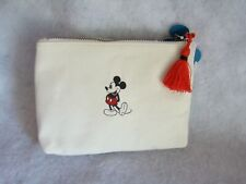New Disney Mickey Mouse Canvas Black Red Off White Clutch Purse or Makeup Bag