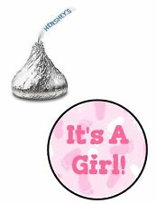 108 ITS A GIRL PINK FEET BABY SHOWER HERSHEY KISS KISSES CANDY LABELS STICKERS*