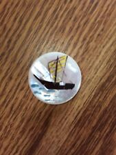 Antique Vintage Hand Painted SAILBOAT, Mother of Pearl SHELL Button Nice!!