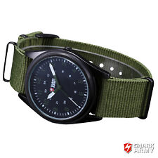 SHARK Mens Analog Wrist Watch Police Style Glow Military Sport Army Green Canvas