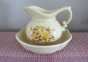 Vintage McCoy Tan Floral Pitcher And Bowl Sunflower And Rose  #7528