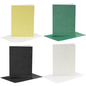 A6 Glitter Cards And Envelopes Blank Cards For Art And Craft 250gsm - Pack of 4