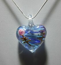 Pale Blue Stripe Murano Glass Earrings & Necklace Set #Valentine