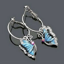 Vintage Butterfly Earings Sliver Plated Crystal Stud Earrings Drop Earings FA