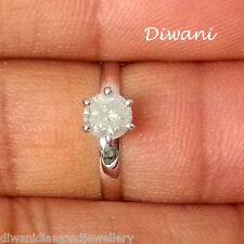 0.60 Ct 100% Natural Snow White Round Diamond Solitaire Engagement Ring 14K Gold