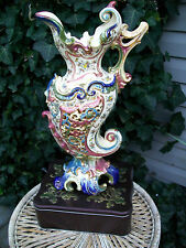 SUPERB-HUGE ZSOLNAY-FISCHER J BUDAPEST.LATE 18 C.PITCHER VASE=MUSEUM QUALITY