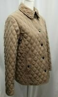 Gallery Women's Quilted Beige Jacket Size Large Pockets Lined Coat Sz L
