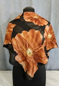 "Lovely Vintage Amber Colour Poly Large Scarf by AKEL 37""x 37"""