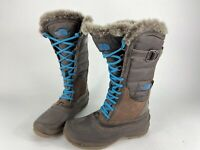 THE NORTH FACE Primaloft Women's Lace Up Snow Winter Boots Brown/Blue US 7 Tall