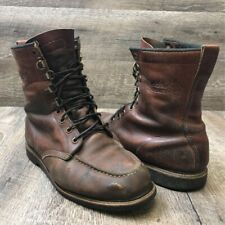 "Vintage Field & Stream Men's 8"" Hunting Work Boots Brown Leather Moc Toe 10.5"