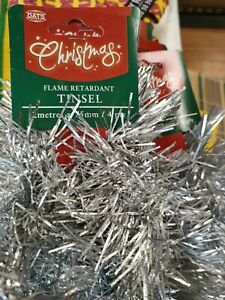 8Pcs 2M Traditional Christmas Tinsel Party Home Decoration Silver Bulk 75mm