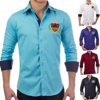 À manches longues polo des hommes Slim Fit patches loisirs shirt décontracté (5