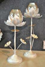 Antique Table Lotus Set Of 2 White And Gold Distress Finish For Home Decor