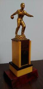 "Vintage Art Deco mcm 1950s Bowling Trophy Red butterscotch Bakelite/Catalin 12"""