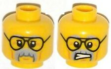 LEGO - Minifig, Head Black Glasses, Cheek Lines, Gray Moustache & Eyebrows