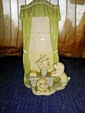 Vintage Porcelain WINDOW PUPPIES Yellow Labrador Retriever Golden Statue ❤️ts17j