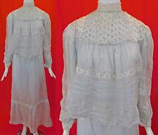 Vintage Edwardian Baby Blue Cotton Organdy White Lace Trim Dress Blouse & Skirt