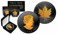 2017 Black Ruthenium & 24K Gold Gilded 1 Troy Oz Silver CANADIAN MAPLE LEAF Coin