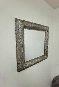 60cm Square Elysian Silver Quatrefoil wall mirror metal frame bathroom hallway