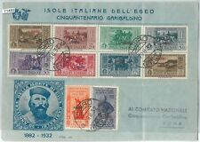 71492 - EGEO Nisiro - Storia Postale - Serie GARIBALDI su BUSTA  FDC - BELLA!!