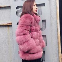 Chic Women Winter Thick Outdoor Jacket Stand Collar FauxFur Mid Long New Coat