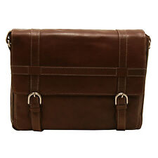 EDWARD ROBERTSON - BROWN SPIRAL SATCHEL/MESSENGER BAG IN BUFF HUNTER LEATHER