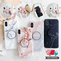 Phone Soft Cover Marble Case Grip Stand Holder For iPhone 7/8/7Plus/8Plus/X New