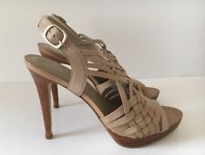 ALDO STRAPPY NEUTRAL LEATHER SANDALS SIZE 39 HEEL 5INS