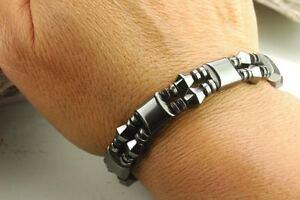 Mens Womens Magnetic Bracelet Necklace- Diamond Shaped  Black Hematite Stones