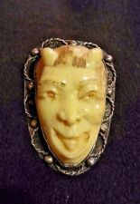 Sterling Silver Intricately Carved Devil Face Pin Makers Mark Antique/Vintage