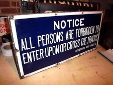 IRT ELEVATED CIRCA 1917 BLUE PORCELAIN FORBIDDEN BALTO ENAMEL NYC SUBWAY SIGN NY