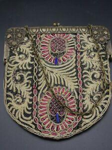 wunderbare alte Handtasche mit ausgefallenem Rahmen alte Geldbörse [schw