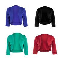 Fashion Womens Plain 3/4 Sleeve Open Cropped Bolero Shrug Top Cardigan Jacket