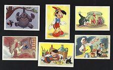 Set of 6 vtg Trade Cards chocolate Beukelaer Walt Disney Pinocchio Geppetto 1940