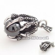 Men's Dragon Claw Black Cubic Zirconia Stainless Steel Pendant with Necklace