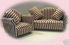 DOLLS HOUSE furniture sofa & chair set -red & white Streets Ahead 1:12 Accessory