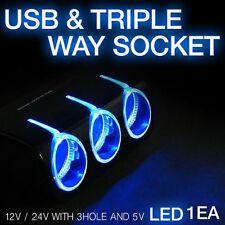 LED 12V 24V with 3hole and 5V USB Triple Way Socket For KIA 2014-2017 2018 Soul