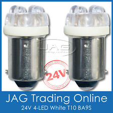 24V PAIR 6-LED T10 BA9S GLOBES SUPER WHITE HID LOOK - Truck/Caravan/Bus Lights