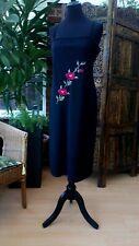 Etam Dress Black with Embroidered Red Rose Flowers UK 16 US 12 EU 42 / 44