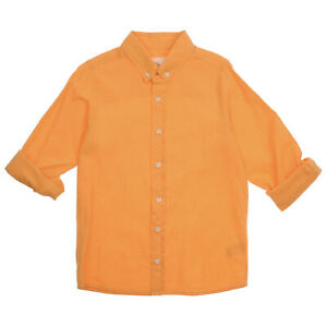 Orange / Yellow Basic Linen Collared Shirt for Boys | 7 8 9 10 11 12 Years