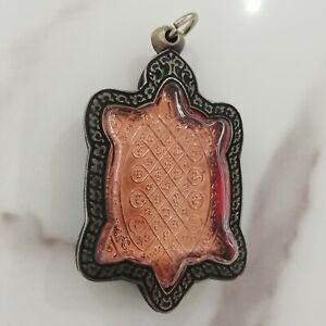 Rare Amulet Thai Buddha Turtle LP LEW Bronze Talisman Gemstone Only One Wealth A