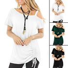 Women Summer Short Sleeve T Shirt Cold Shoulder Casual Tunic Top Solid Blouse US