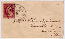 "#26A-3 Cents 1857, 97R10i, ""CHICAGO MAY 6 1858 ILL"" very early use 7 days after."