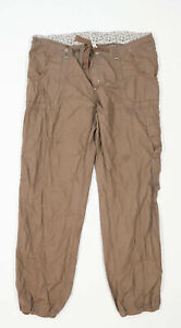 Womens Primark Brown Cotton Cargo Trousers Size 16/L32