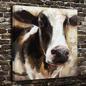 Black and White Cow Canvas Prints Painting Wall Art Picture for Home Decor