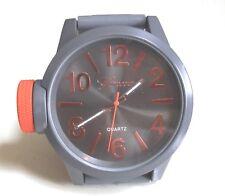 Men's Geneva Orange/Gray Silicon Band Fashion Dressy/Casual Wrist Watch