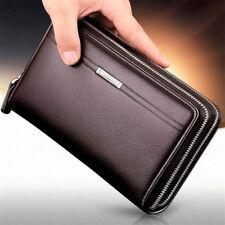 Brown Men's Genuine Leather Wrist Long Clutch Wallet Card Handbag Zipper Purse