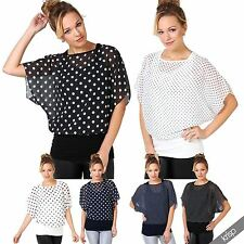 Hip Length Viscose Spotted Tops & Shirts for Women